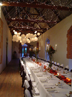 Chateau Tanunda Long Room Fairy Lights and White Paper Lanterns