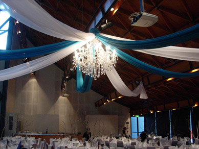 NWC Hickinbotham Room Draping & Extra Large Chandelier