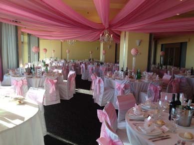 Oaks Plaza Pier- After with Pink Drapes with Chandeliers