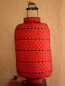 Lanterns Chinese Red Wire & Fabric