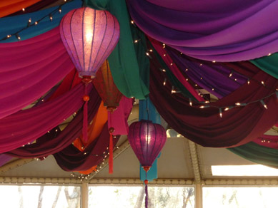Draping with Fairy Lights & Moroccan Lanterns