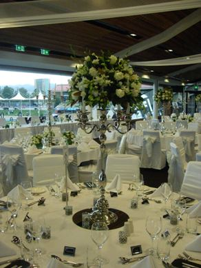 Adelaide Oval Silver Candelabra with Flowers & Taper Candles (Flowers - AFH)