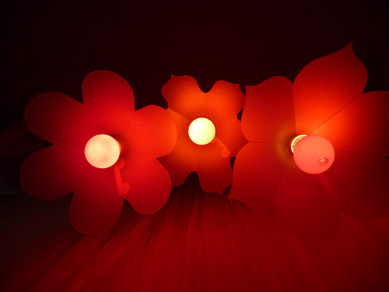 Acrylic Festoon Lanterns with red globes underneath