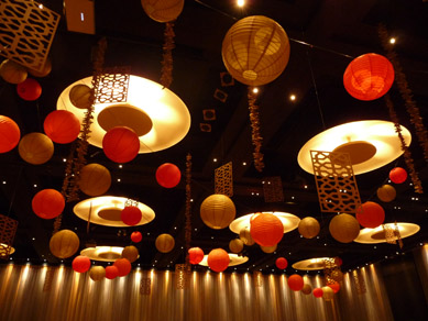 Hilton Hotel Paper Lanterns, Wood Cut Panels & Driftwood Drops 2