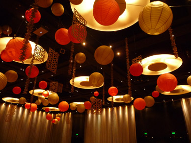 Hilton Hotel Paper Lanterns, Wood Cut Panels & Driftwood Drops