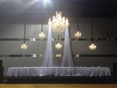 ACC Drapes & 6 Chandeliers