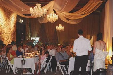 Golding Winery Draping with Chandeliers