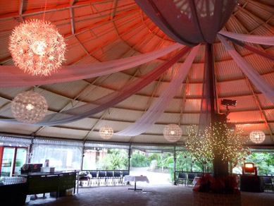 Adelaide Zoo Rotunda Draping, Snow Flake Lights & Woodlands Trees