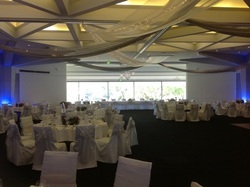 PicAdelaide Festival Centre Draping, Fairy Lights, Chandelier Pendants, and Uplighting