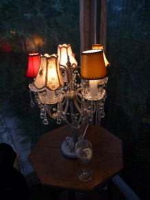 Clear Crystal Candelabra (Powered) with Shades
