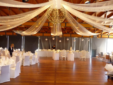 NWC Hickinbotham Room Draping, Fairy Lights & Large Bud Light Ball