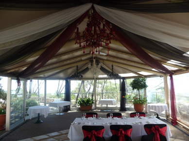 Draping with Red & Clear Chandeliers