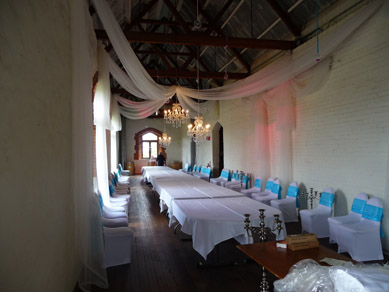Chateau Tanunda Long Room Crystal Chandeliers, Draping and Uplighting 2