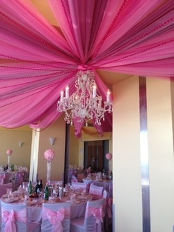 Oaks Pier Pink Drapes with Chandeliers