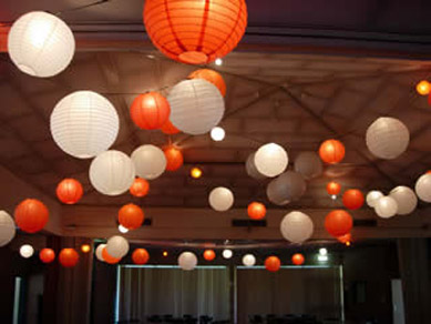 White & Orange Paper Lanterns