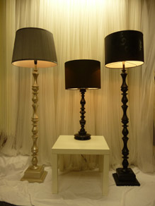Assorted Modern Table & Standard Lamps with Silver & Black Shades