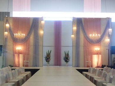 Adelaide Showgrounds Fabric Draping with Chandeliers & Assorted Pendants 2