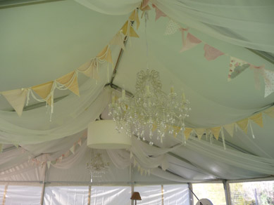 Bunting, Shades & Chandelier