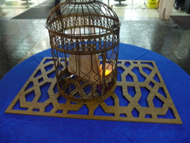 Rundle Mall Wood Cut Panels & Bird Cages with Fan & Tea Lites