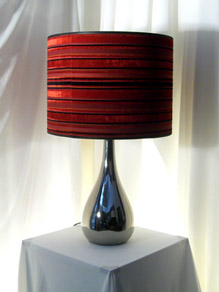 Silver Modern Table Lamp w/ Red & Black Shade