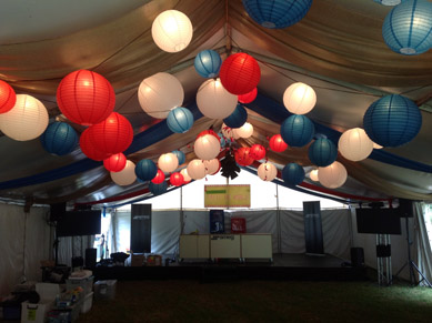 White, Red & Blue Paper Lanterns