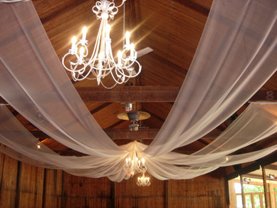 Glen Ewin Pulp Shed Draping & French White Chandeliers