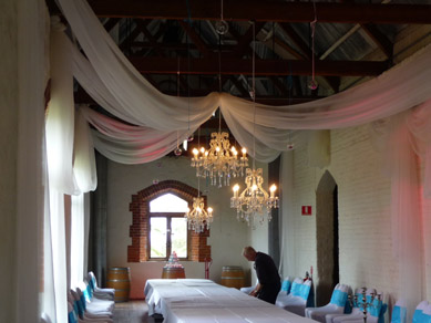 Chateau Tanunda Long Room Crystal Chandeliers, Draping and Uplighting
