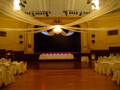 Norwood Concert Hall Extra Large Chandelier & Draping 2