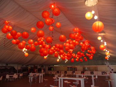 Adelaide Oval Red Paper Lanterns