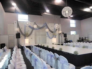 Ridley Pavilion Draping, Light Boxes & Snowflake Lights