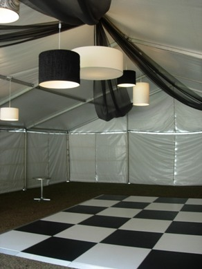 Draping with Black & White Drum Shades