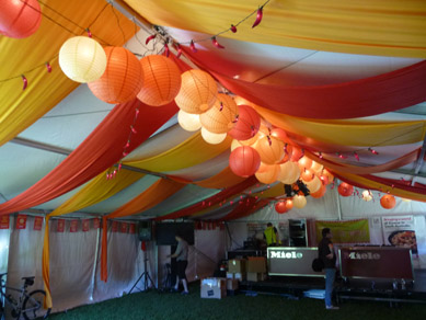 Draping & Orange, Red & White Paper Lanterns
