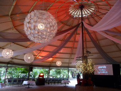 Adelaide Zoo Rotunda Draping, Snow Flake Lights & Woodlands Trees 2