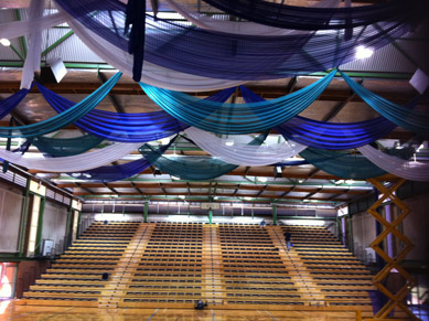 Seymour College Blue, Green & White Fabric Drapes