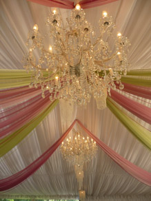 Crystal Chandeliers & Draping