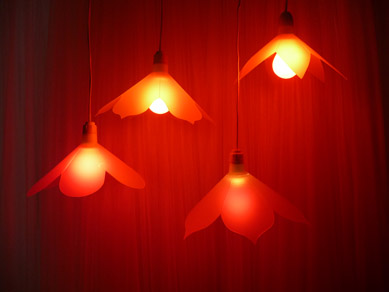 Acrylic Festoon Lanterns with red globes