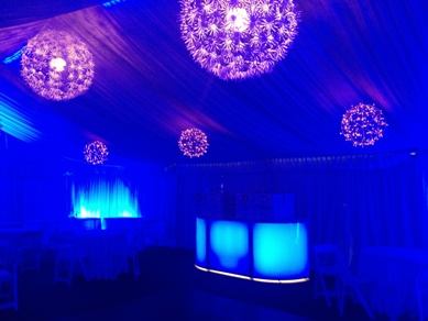 Snowflake Lights & Blue Flood Lighting