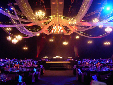 Adelaide Convention Centre Assorted Chandeliers, Draping & Fairy Lights 2