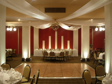 Mercure Grosvenor Draping with Bud Light Ball, Light Columns & Uplighting