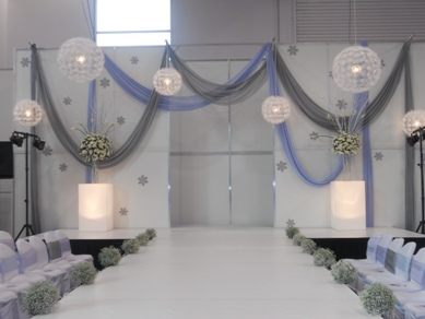 Ridley Pavilion Draping, Light Boxes & Snowflake Lights 2