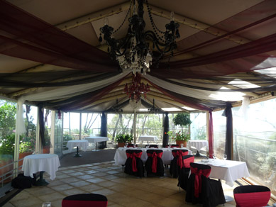 Draping with Black, Clear & Gold Chandeliers